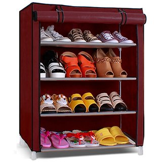 PINDIA Fancy DIY Collapsible Shoe Racks Maroon