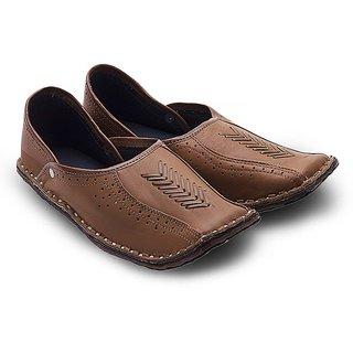 Great Art Men Rajasthani Ethnic Juti Tan Leather Mojari Shoe 201