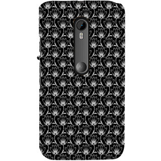 ifasho Animated Pattern black and white many lotus flower Back Case Cover for Moto G3