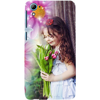 ifasho Girl with flower in hand Back Case Cover for HTC Desire 828