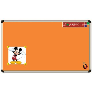Orange Sporty Magnetic Notice Board (4 feet x 3 feet) by BoardRite