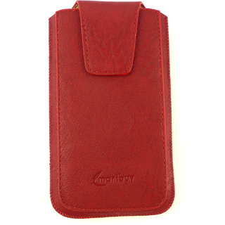 Emartbuy Classic Range Red Luxury PU Leather Slide in Pouch Case Cover Sleeve Holder ( Size 4XL ) With Magnetic Flap & Pull Tab Mechanism Suitable For Padgene 5 Inch Android