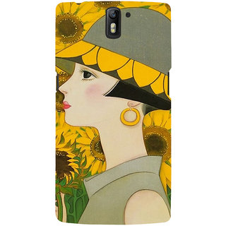ifasho Painted Girl and flower Back Case Cover for One Plus One