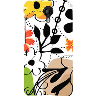 ifasho Animated Pattern colrful design flower with leaves Back Case Cover for Micromax CanvasNitro3E455