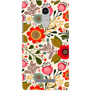 ifasho Animated Pattern colrful design flower with leaves Back Case Cover for REDMI Note 3