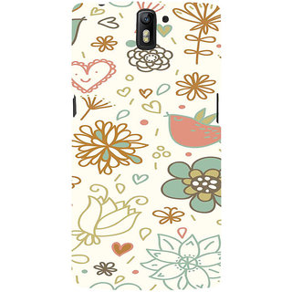 ifasho Animated Pattern colrful design cartoon flower with leaves Back Case Cover for One Plus One