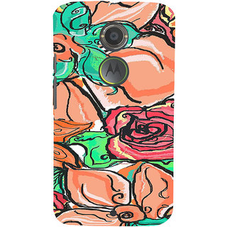 ifasho Animated Pattern colorful rose flower with leaves Back Case Cover for Motorola MOTO X2