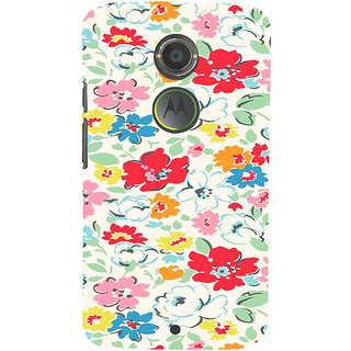 ifasho Animated Pattern colrful flower with leaves Back Case Cover for Motorola MOTO X2