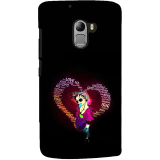 ifasho Animated Pattern With Love and heart and Ishq Back Case Cover for Lenovo K4 Note