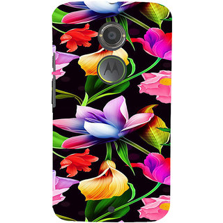 ifasho Animated Pattern colrful design flower with leaves Back Case Cover for Motorola MOTO X2