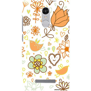 ifasho Animated Pattern colrful design cartoon flower with leaves Back Case Cover for REDMI Note 3