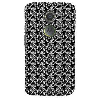 ifasho Animated Pattern design black and white flower in royal style Back Case Cover for Motorola MOTO X2