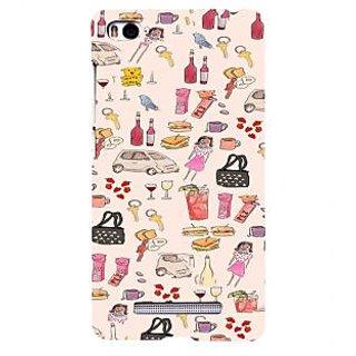ifasho Modern Art Design Pattern girl shop car food bird Back Case Cover for Redmi Mi4i