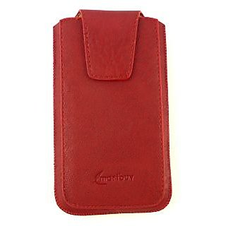 Emartbuy Classic Range Red Luxury PU Leather Slide in Pouch Case Cover Sleeve Holder ( Size 4XL ) With Magnetic Flap & Pull Tab Mechanism Suitable For LG K5 4G