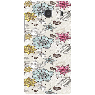 ifasho Animated Pattern colrful design flower and cage and hen Back Case Cover for Redmi 2S