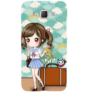 ifasho Cute Girl with bag and Small Cat Back Case Cover for Samsung Galaxy Grand Max