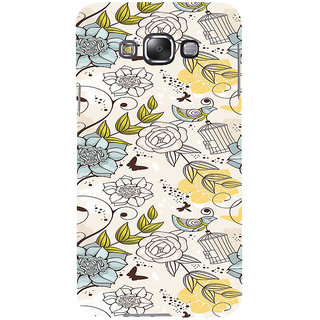 ifasho Animated Pattern colrful design flower and cage and birds Back Case Cover for Samsung Galaxy E7