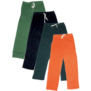 IndiWeaves Women's Stretchable  Premium Cotton Lower/Track Pant(Pack of 4)_Green::Black::Gray::Orange_Free Size