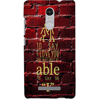 ifasho Love Quotes I love you Back Case Cover for REDMI Note 3