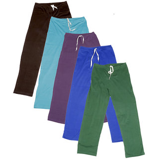 IndiWeaves Women's Stretchable  Premium Cotton Lower/Track Pant(Pack of 5)_Brown::Blue::Purple::Blue::Green_Free Size