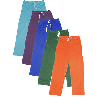 IndiWeaves Women's Stretchable  Premium Cotton Lower/Track Pant(Pack of 5)_Blue::Purple::Blue::Green::Orange_Free Size