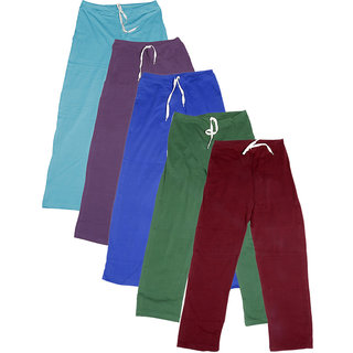 IndiWeaves Women's Stretchable  Premium Cotton Lower/Track Pant(Pack of 5)_Blue::Purple::Blue::Green::Maroon_Free Size
