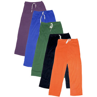 IndiWeaves Women's Stretchable  Premium Cotton Lower/Track Pant(Pack of 5)_Purple::Blue::Green::Black::Orange_Free Size