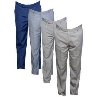 Indiweaves Men's Rayon Formal Trousers (Pack of 4)_Blue::Gray::Gray::Gray_Size: 30