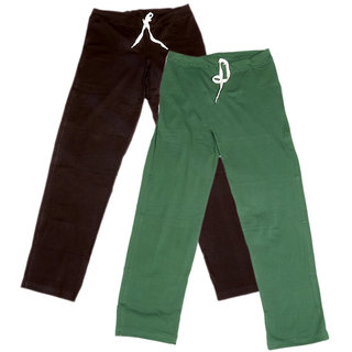 IndiWeaves Women's Stretchable  Premium Cotton Lower/Track Pant(Pack of 2)_Brown::Brown::Green_Free Size