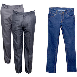 Indiweaves Men's 2 Formal Rayon Trousers and 1 Tullis Denim Jeans (Pack 2 Trousers and 1 Jeans)_Gray::Gray::Blue_30