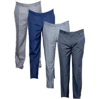 Indistar Men's Rayon Formal Trousers (Pack of 4)_Gray::Gray::Blue::Gray_Size: 30