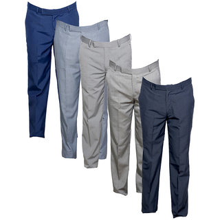 Indistar Men's Rayon Formal Trousers (Pack of 5)_Gray::Gray::Blue::Gray::Gray_Size: 30