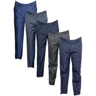 IndiWeaves Men's Rayon Formal Trousers (Pack of 5)_Gray::Gray::Blue::Gray::Gray_Size: 30