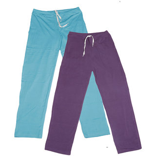 IndiWeaves Women's Stretchable  Premium Cotton Lower/Track Pant(Pack of 2)_Blue::Purple_Free Size