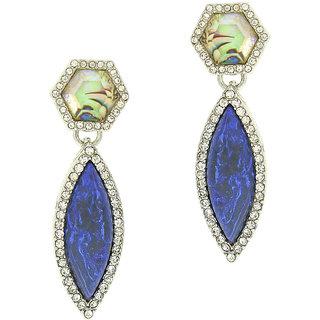 OOMPH's Silver, Blue & Multicolor Crystal Fashion Jewellery Drop Earrings for Women, Girls & Ladies