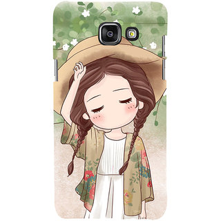 ifasho Lovely Girl with Hat Back Case Cover for Samsung Galaxy A7 A710 (2016 Edition)