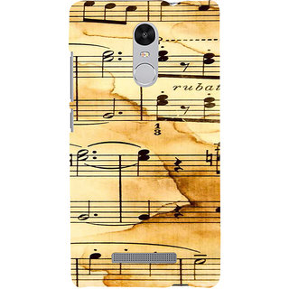 ifasho Animated Pattern design black and white music symbols and lines Back Case Cover for REDMI Note 3