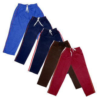 Indistar Boys Premium Cotton Full Length Lower//Track Pants//Pyjamas With 2 Open Pockets Pack Of 2
