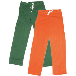IndiWeaves Women's Stretchable  Premium Cotton Lower/Track Pant(Pack of 2)_Green::Orange_Free Size