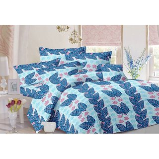 Valtellina Leafy Design Blue Colour Cotton Double Bed Sheet with 2 Pillow Cover - TC-140