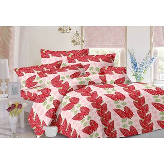 Valtellina Leafy Design Peach Colour Cotton Double Bed Sheet with 2 Pillow Cover - TC-140