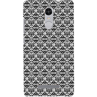 ifasho Animated Pattern design black and white flower in royal style Back Case Cover for REDMI Note 3
