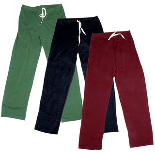 IndiWeaves Women's Stretchable  Premium Cotton Lower/Track Pant(Pack of 3)_Green::Black::Maroon_Free Size