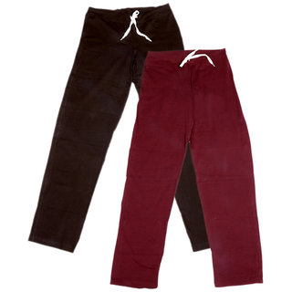 Indistar Women's Stretchable  Premium Cotton Lower/Track Pant(Pack of 2)_Brown::Brown::Maroon_Free Size