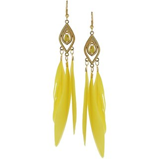 OOMPH's Gold & Yellow Feather Fashion Jewellery Drop Earrings for Women, Girls & Ladies