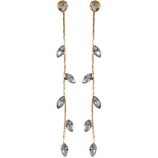 Fabula's Gold & White Zircon American Diamond AD CZ Jewellery Drop Earrings for Women, Girls & Ladies
