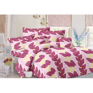 Valtellina Leafy Design Purple Colour Cotton Double Bed Sheet with 2 Pillow Cover - TC-140
