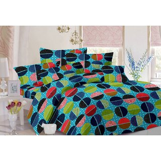 Valtellina Geometric Design Blue Colour Cotton Double Bed Sheet with 2 Pillow Cover - TC-140