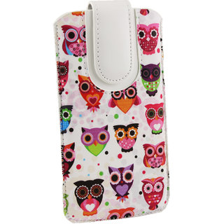 Emartbuy Multi Coloured Owls Print Premium PU Leather Slide in Pouch Case Cover Sleeve Holder ( Size LM2 ) With Pull Tab Mechanism Suitable For Medion Life S5004