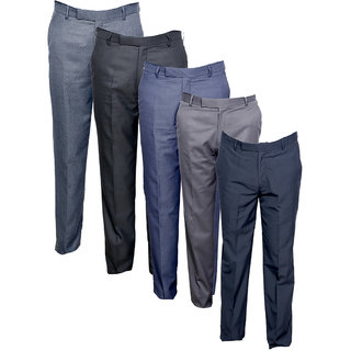 Indistar Men's Rayon Formal Trousers (Pack of 5)_Gray::Gray::Gray::Gray::Gray_Size: 30